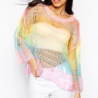 Wildfox White Label Rainbow Sky Bunny Jumper