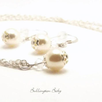 Pearl Necklace and Earring Set, Wedding Jewelry, Flower Girl Jewelry, Bridesmaid Gift, Bridesmaid Jewelry, Bridal Jewelry (Y10)