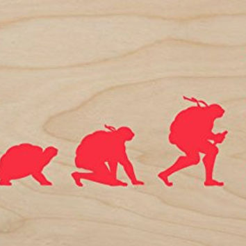 'Evolution' Funny Transformation Turtle Parody - Plywood Wood Print Poster Wall Art