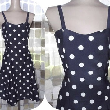 Vintage 90s Navy & White Polka Dot Mini Sun Dress Full Small 50s Swing Style