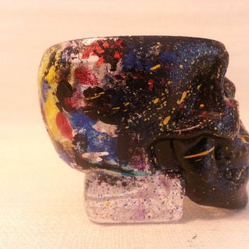 Hand Painted Skull Splatter Candle Holder or Shot Glass