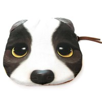 Adorable French Bulldog With Sad Puppy Eyes Face Shaped Soft Fabric Coin Purse Make Up Bag