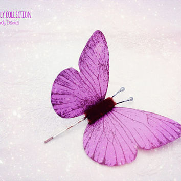 Butterfly bobby pin. Purple Butterfly hair clip Bridal Bridesmaid hair. Butterfly hair, Butterfly Wedding butterfly hair monarch butterfly