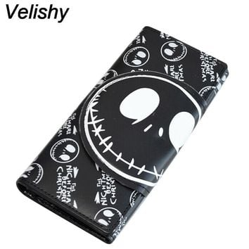 Velishy Hot Sale Wallet for Women Cartoon Skull Print Wallet Womens Luxury Purses Female Pocket Money Bag