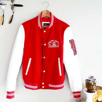 80's Red Vintage Team Jackets~ Preppy Hipster Clothing~ 1980's Red Bomber~ Wool & Leather Football Varsity Jacket~ Medium Oversized Coat~
