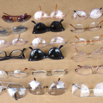 vintage eye glasses lot of 30,estate junk drawer lot,steampunk art craft,assoreted sizes