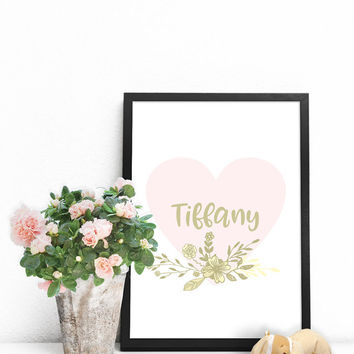 Name signs for nursery, Baby name art, Custom wall art PRINTABLE, Personalized baby gifts for girls, Name printables, Baby girl wall decor