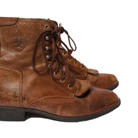 Women's Vintage Lacer Boots Leather Ankle Boots Brown Lace Up Ariat Size 8 US 39 EUR 5.5 UK