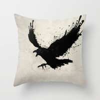 Raven Throw Pillow by Nicklas Gustafsson