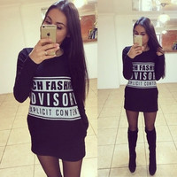 ZCEC Autumn New Female Dress New Long Sleeved Letter Printing Sweater = 1945808452