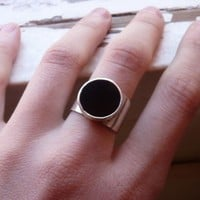 $45.00 Onyx Geometric Ring Sterling silver Made to order by aforfebre