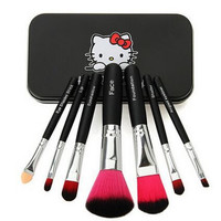 Newest Black/Pink Hello Kitty 7Pcs Makeup Brush Set Mini Professional Facial Cosmetics Make Up Brushes Set With Metal Box