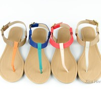 New Womens T Strap Colorblock Sandals Slingback Flat Gladiator Shoes Sizes 6-11