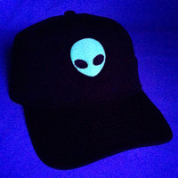 NEW Glow In The Dark Alien Head Baseball Hat Dad Hat Low Profile White Pink Black Casquette Embroidered Unisex Adjustable Strap Baseball Cap