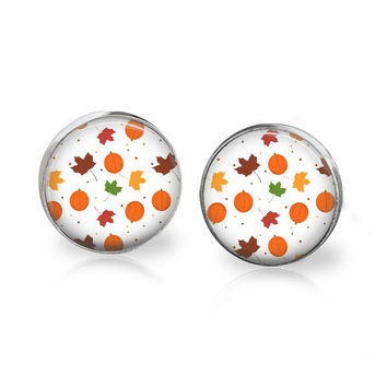 Autumn Earrings - Autumn Leaves Jewelry - Glass Pumpkin Earrings - Pumpkin Jewelry - Autumn Jewelry Fall Jewelry - Glass Stud Earrings Post