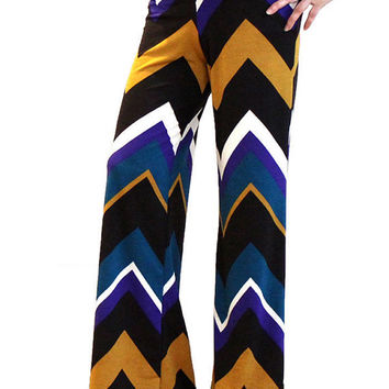 Women's Boho Blue White Gold Chevron Pattern Striped Zig Zag High Waist Fold Over Palazzo Pants Yoga Pants