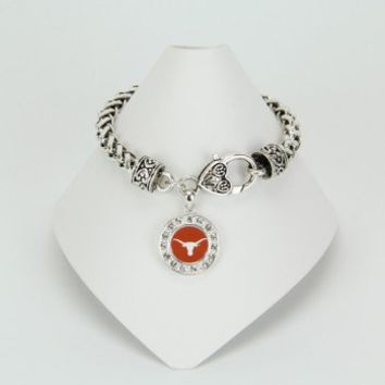 Texas Longhorns Crystal Circle Bracelet