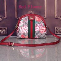 Gucci Small Bag Women Shopping Shoulder Floral Print Edge Bag