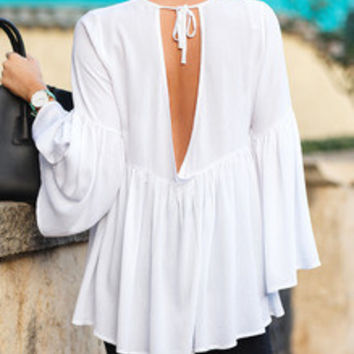 Beige Long Sleeve Ruffle Blouse