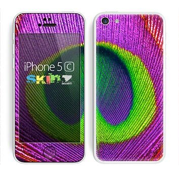 The Neon Peacock Feather Skin for the Apple iPhone 5c