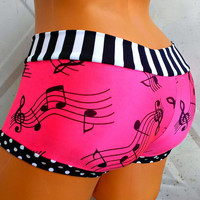 Funky beats bikini booty boyshort shorts swim Neon pink Music Notes black and white stripe