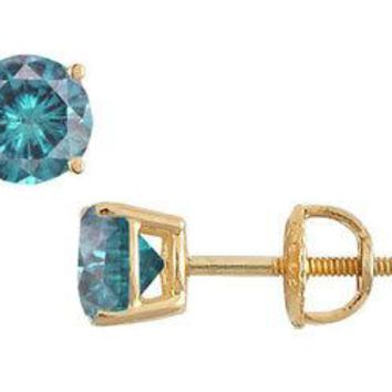 14K Yellow Gold : Blue Diamond Stud Earrings 1.50 CT TDW