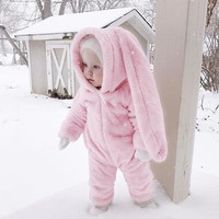 Baby Romper Flannel Baby Romper Long Sleeve Hooded Girls Cute Rabbit Ears Costume Pink Baby Clothes Winter Warm Thicken Soft
