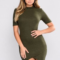 Dorthy Ribbed Dress - Olive