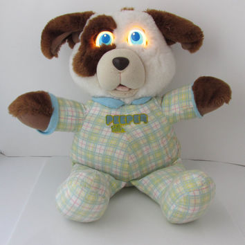 Peeper Pals Speckles Pup Galoob Puppy 1990 Stuffed Toy - 14 Inches