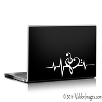 Heartbeat music note car decal, pulse car sticker, laptop decal, music car decal, music laptop decal, music auto decal, music auto sticker