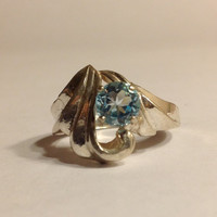 Blue Topaz Ring - New Fashion Ring .925 Sterling Silver! Size 7