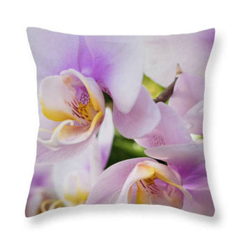 White Orchids Pillow Pink Orchids Seat Cushion Violet Outdoor Throw Pillow  Floral Decorative Pillow Flowers Pillow Cover Nature Decor