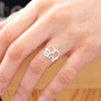 Cute 925 Silver Elephant Ring