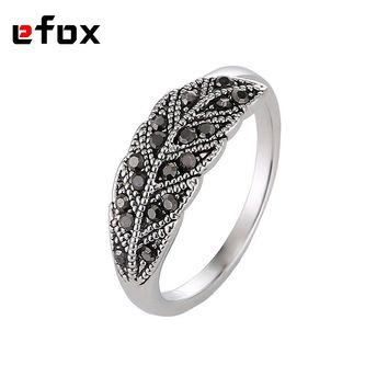 Simple Leaf Design Vintage Fashion Rings Wedding Party Jewelry Hight Quality Black Cubic Zirconia Female Ring For Women Gift