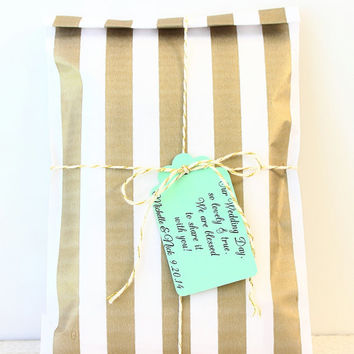 Gold Stripe Paper Favor Bags, 25 Treat Bags, Gold Candy Bags, Favor Packaginig- Golden Anniversary, Paper Treat Bags, (5x7) Popcorn Bag