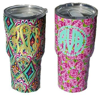 Monogrammed Lilly Pulitzer Inspired Tumbler, 30oz.