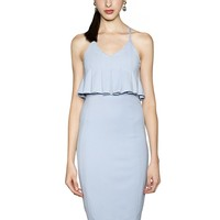 Baby Blue Bodycon Peplum Dress