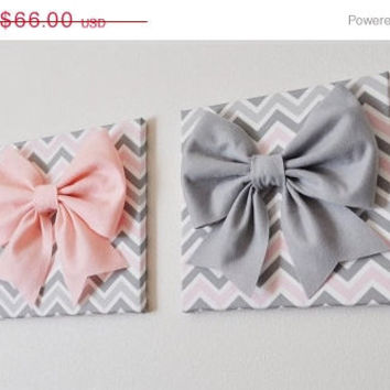 "MOTHERS DAY SALE Set of Two Large Light Pink Bow and Large Grey Bow on Gray and White Chevron 12 x12"" Canvas Wall Art- Baby Nursery Wall Dec"