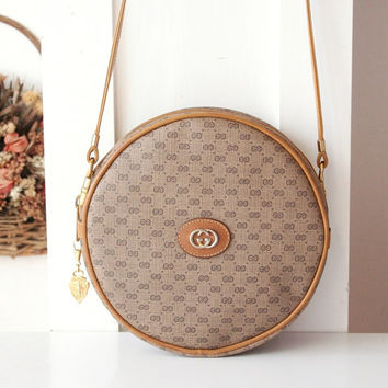 b7d031262ea Gucci Bag Vintage Monogram Brown Round Shoulder Handbag Purse Au