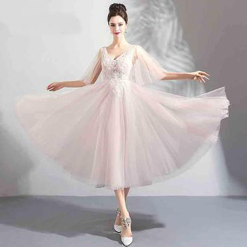 Backless Flower Tea-Length Prom Gown Beading Elegant V-neck Ball Gown Lace Up Luxury Prom Dancing Party Dresses