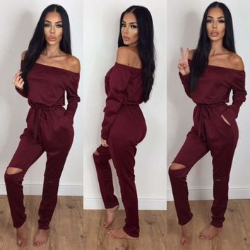 2018 Off Shoulder Hole Jumpsuits Womens Leotard Long Rompers Jumpsuit Backless High Waist Long Sleeve Casual Elegant Jumpsuit
