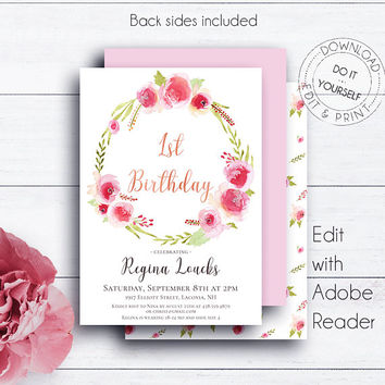 Floral 1st Birthday Party Invite, Floral Birthday, Girl Birthday Invite, Kids Invitation, Girl First Birthday, Pink and Gold, Glitter Invite