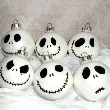Nightmare Before Christmas Jack Skellington 6PC Glass Ornament Set