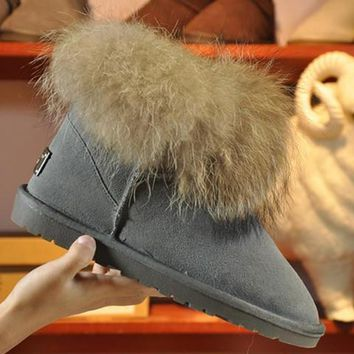 UGG Women Fashion Fox Fur Snow Boots Calfskin Shoes