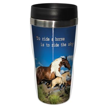 Ride the Sky Artful Travel Mug - Premium 16 oz Stainless Lined w/ No Spill Lid