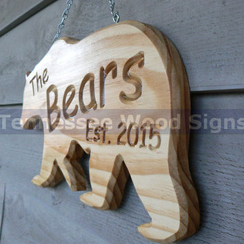 Personalized Last Name and Established Date - This is a Bear Shaped Sign.Great for Cabins-Camping-Last Name-Gift-RV-Weddings-Anniversaries