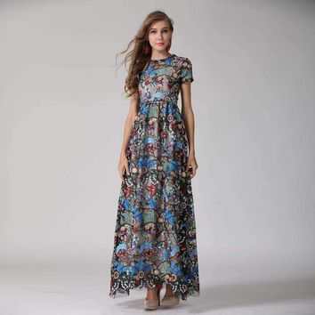 Womens Colorful Embroidery Short-Sleeves Charming Floor-Length Gauze Maxi Dress