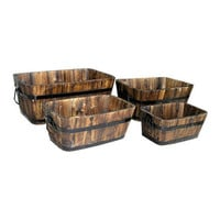 Set of 4 - Rectangular Outdoor Cedar Wood Barrel Planters in Burt Brown