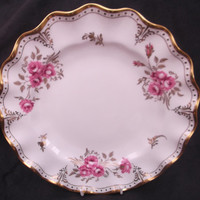 Elegant Royal Crown Derby fluted Pinxton Rose dinner plate  dated 1978 (second)
