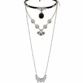 Metallic Multi-pack Necklace - Silver